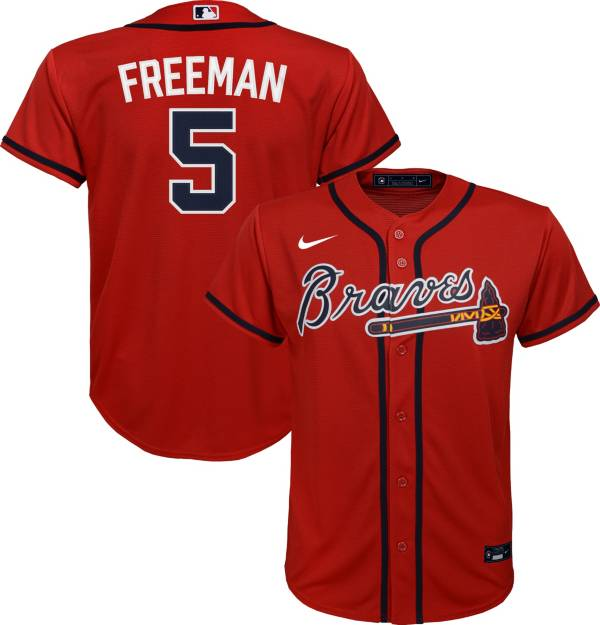 Nike Youth Replica Atlanta Braves Freddie Freeman #5 Cool Base Red Jersey product image