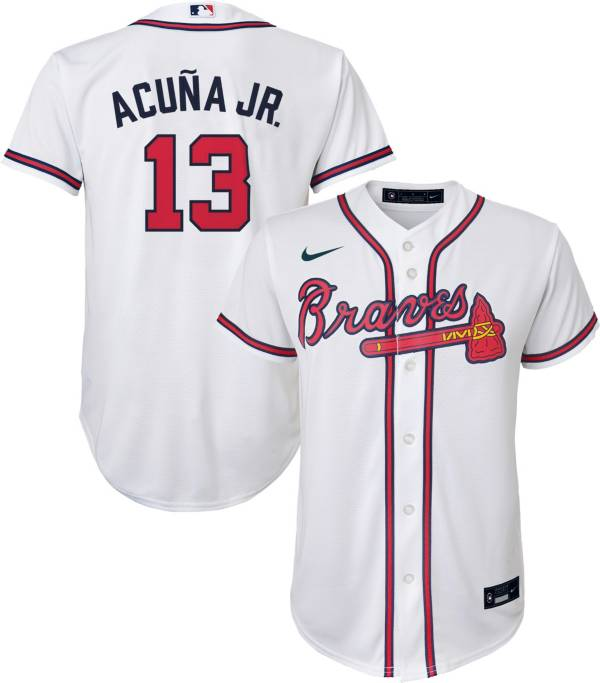 Nike Youth 4-7 Replica Atlanta Braves Ronald Acuna Jr. #13 Cool Base White Jersey product image