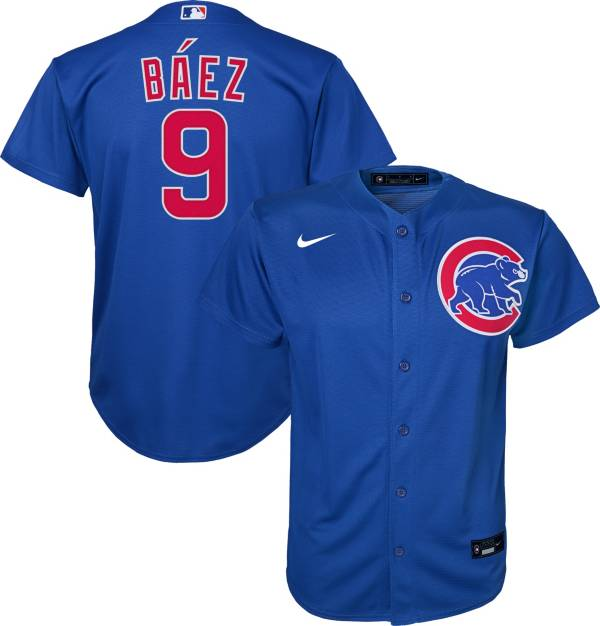 Nike Youth Replica Chicago Cubs Javier Baez #9 Cool Base Royal Jersey product image
