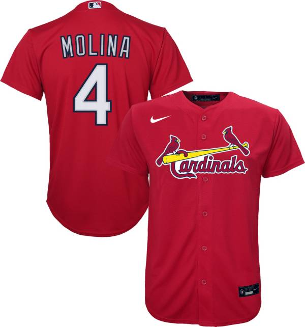 Nike Youth Replica St. Louis Cardinals Yadier Molina #4 Cool Base Red Jersey product image