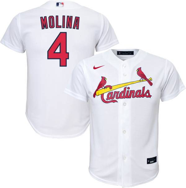 Nike Youth Replica St. Louis Cardinals Yadier Molina #4 Cool Base White Jersey product image