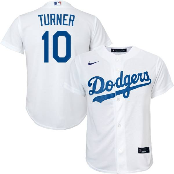 Nike Youth Replica Los Angeles Dodgers Justin Turner #10 Cool Base White Jersey product image