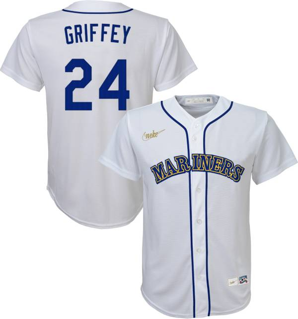 Nike Youth Replica Seattle Mariners Ken Griffey Jr. #24 Cool Base Cooperstown White Jersey product image