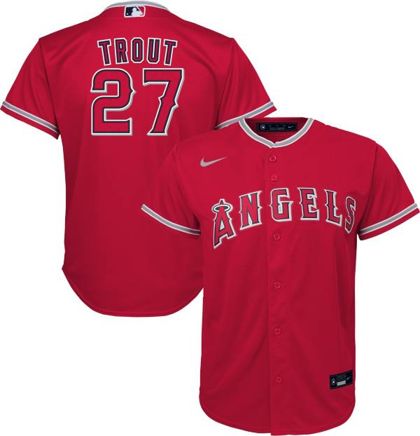 Nike Youth Replica Los Angeles Angels Mike Trout #27 Cool Base Red Jersey product image