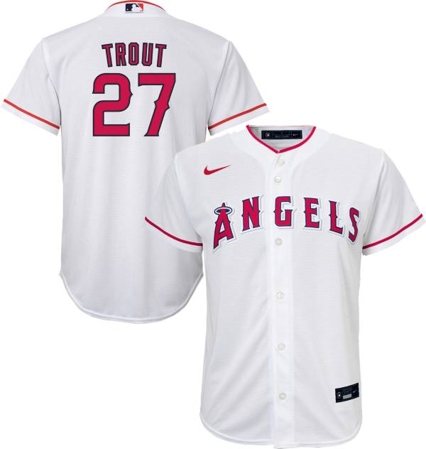 Nike Youth Replica Los Angeles Angels Mike Trout #27 Cool Base White Jersey product image