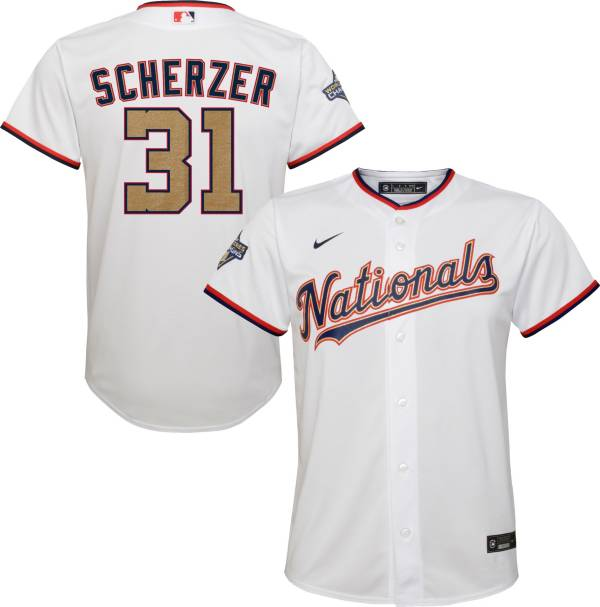 Nike Youth Replica Washington Nationals Max Scherzer #31 Championship Gold Cool Base Jersey product image