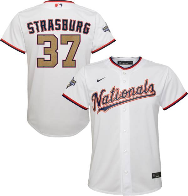 Nike Youth Replica Washington Nationals Stephen Strasburg #37 Championship Gold Cool Base Jersey product image
