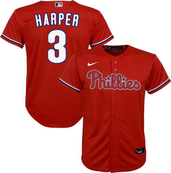 Nike Youth Replica Philadelphia Phillies Bryce Harper #3 Cool Base Red Jersey product image