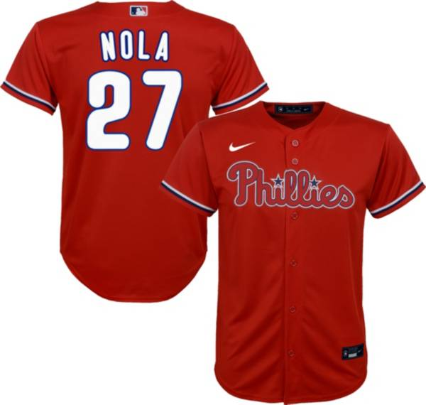 Nike Youth Replica Philadelphia Phillies Aaron Nola #27 Cool Base Red Jersey product image