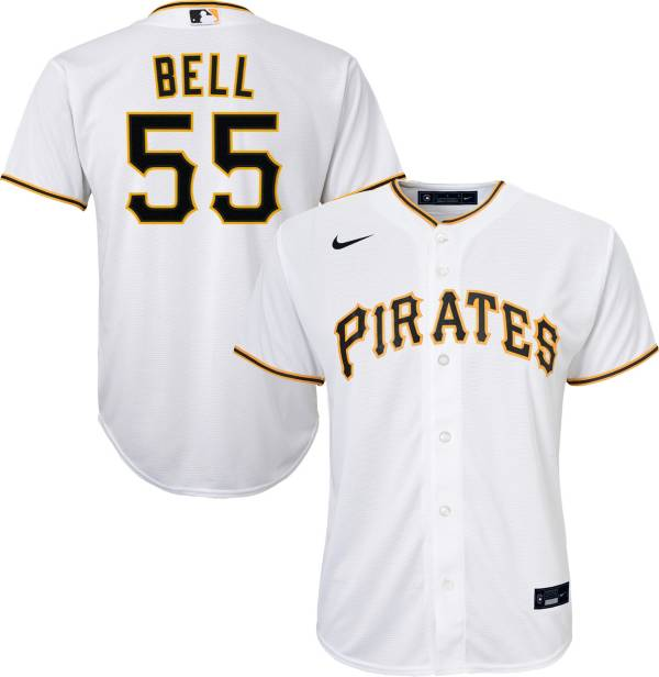 Nike Youth Replica Pittsburgh Pirates Josh Bell #55 Cool Base White Jersey product image