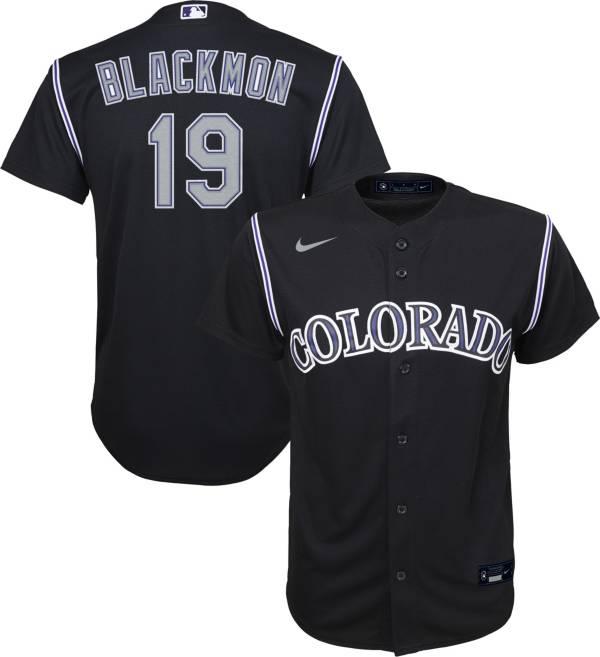 Nike Youth Replica Colorado Rockies Charlie Blackmon #19 Cool Base Black Jersey product image