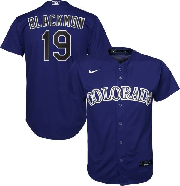 Nike Youth Replica Colorado Rockies Charlie Blockmon #19 Cool Base Purple Jersey product image