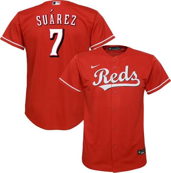 Nike Youth Replica Cincinnati Reds Eugenio Suarez #2 Cool Base Red Jersey product image