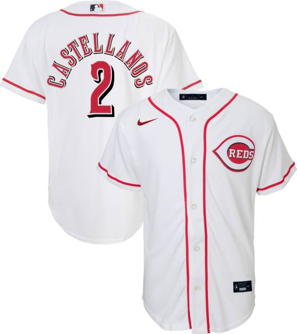 Nike Youth Replica Cincinnati Reds Nick Castellanos #2 Cool Base White Jersey product image