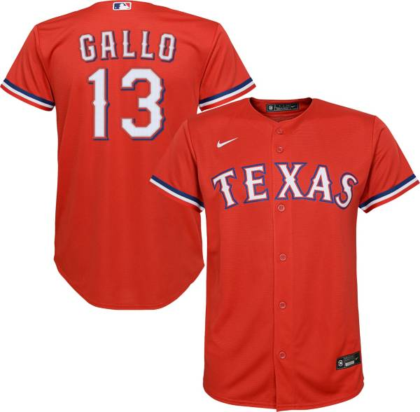 Nike Youth Replica Texas Rangers Joey Gallo #13 Cool Base Red Jersey product image