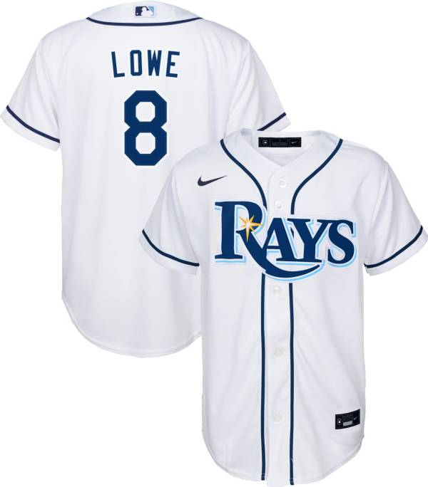 Nike Youth Replica Tampa Bay Rays Brandon Lowe #8 Cool Base White Jersey product image