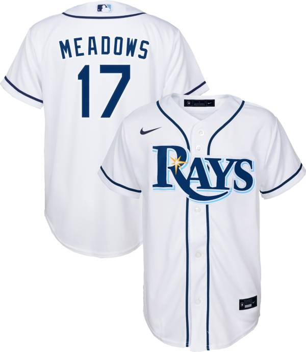 Nike Youth Replica Tampa Bay Rays Austin Meadows #17 Cool Base White Jersey product image