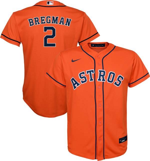 Nike Youth Replica Houston Astros Alex Bregman #2 Cool Base Orange Jersey product image