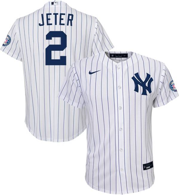 Nike Youth Replica New York Yankees Derek Jeter #2 2020 Hall of Fame Cool Base White Jersey product image
