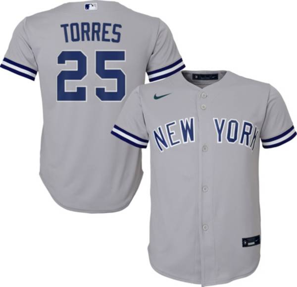 Nike Youth Replica New York Yankees Gleyber Torres #25 Cool Base Grey Jersey product image