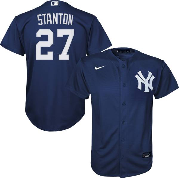 Nike Youth Replica New York Yankees Giancarlo Stanton #27 Cool Base Navy Jersey product image