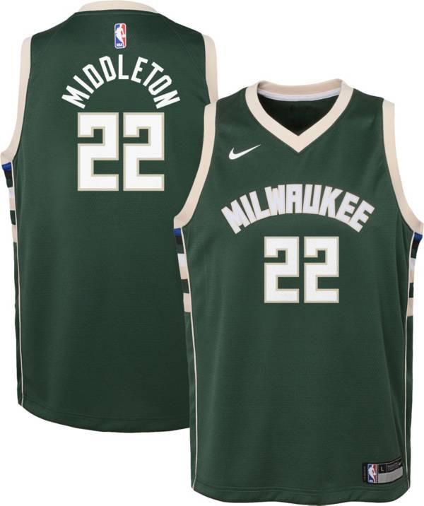 Nike Youth Milwaukee Bucks Khris Middleton #22 Green Dri-FIT Icon Swingman Jersey product image