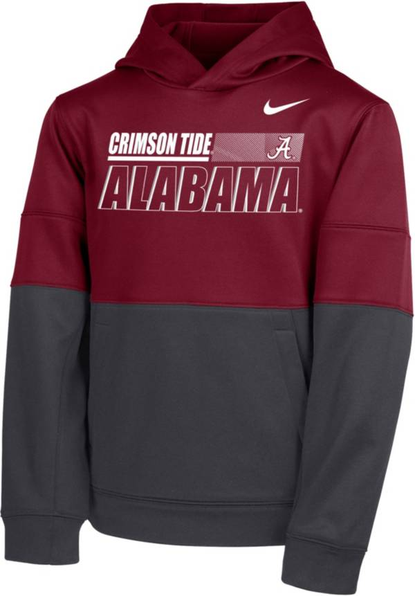Nike Youth Alabama Crimson Tide Crimson Therma Color Block Pullover Hoodie product image