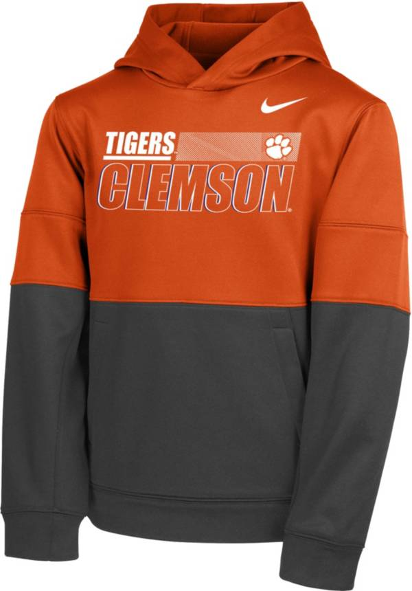 Nike Youth Clemson Tigers Orange Therma Color Block Pullover Hoodie product image