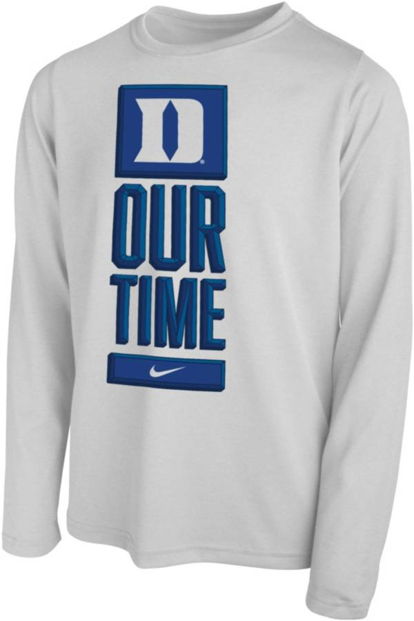 Nike Youth Duke Blue Devils 'Our Time' Bench Long Sleeve White T-Shirt product image