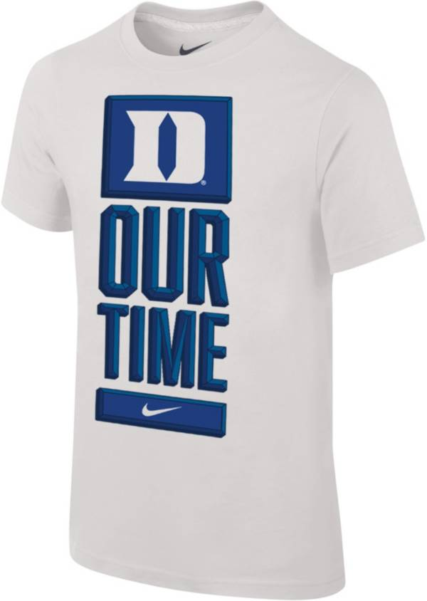 Nike Youth Duke Blue Devils 'Our Time' Bench White T-Shirt product image