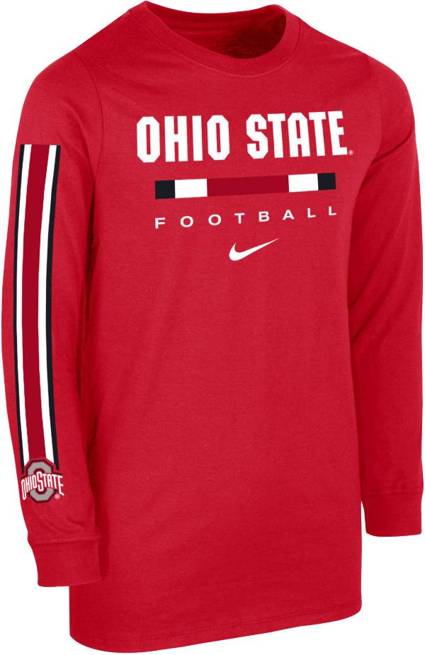 Nike Youth Ohio State Buckeyes Scarlet Core Long Sleeve Cotton Football T-Shirt product image