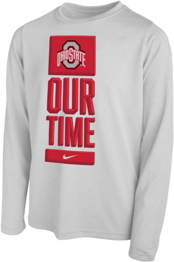 Nike Youth Ohio State Buckeyes 'Our Time' Bench Long Sleeve White T-Shirt product image