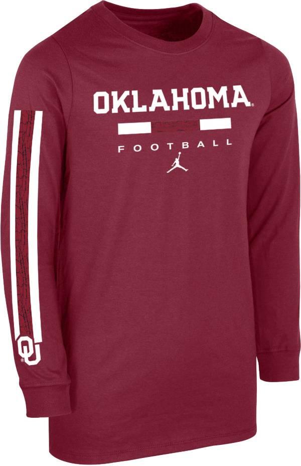Jordan Youth Oklahoma Sooners Crimson Core Long Sleeve Cotton Football T-Shirt product image