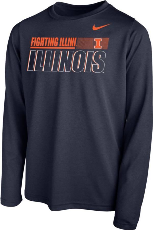 Nike Youth Illinois Fighting Illini Blue Legend Long Sleeve Performance T-Shirt product image