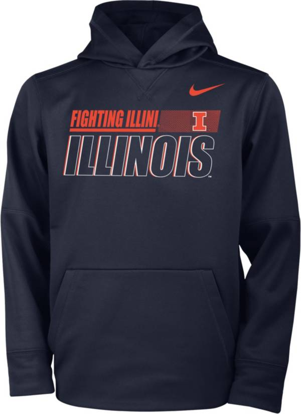 Nike Youth Illinois Fighting Illini Blue Therma Pullover Hoodie product image