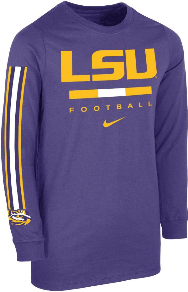 Nike Youth LSU Tigers Purple Core Long Sleeve Cotton Football T-Shirt product image