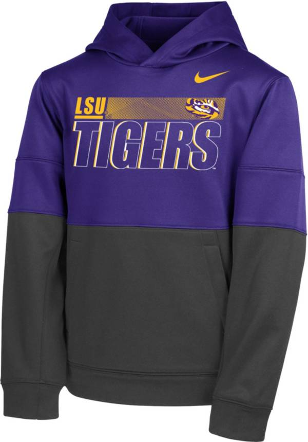 Nike Youth LSU Tigers Purple Therma Color Block Pullover Hoodie product image
