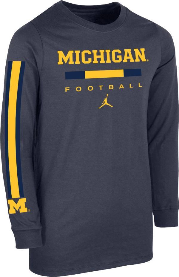 Jordan Youth Michigan Wolverines Blue Core Long Sleeve Cotton Football T-Shirt product image