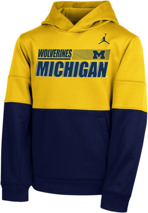 Nike Youth Michigan Wolverines Maize Therma Color Block Pullover Hoodie product image