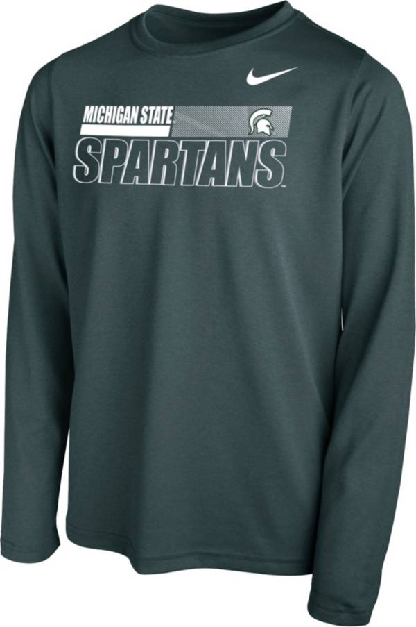 Nike Youth Michigan State Spartans Green Legend Long Sleeve Performance T-Shirt product image