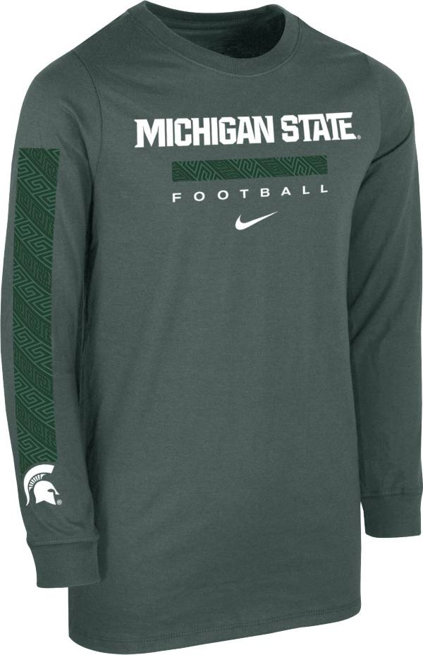 Nike Youth Michigan State Spartans Green Core Long Sleeve Cotton Football T-Shirt product image