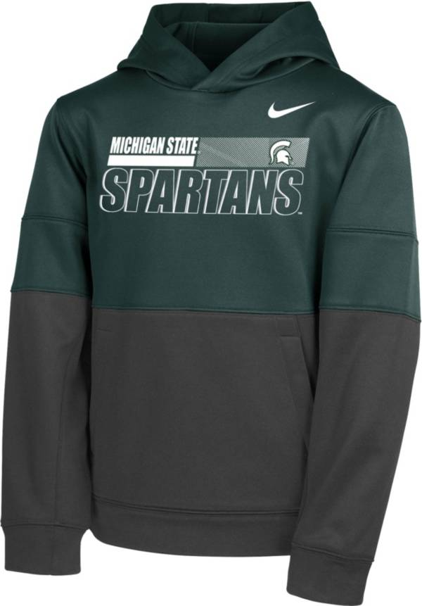 Nike Youth Michigan State Spartans Green Therma Color Block Pullover Hoodie product image