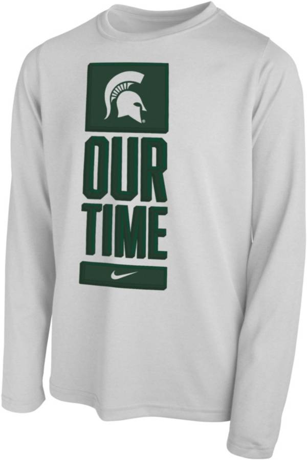 Nike Youth Michigan State Spartans 'Our Time' Bench Long Sleeve White T-Shirt product image