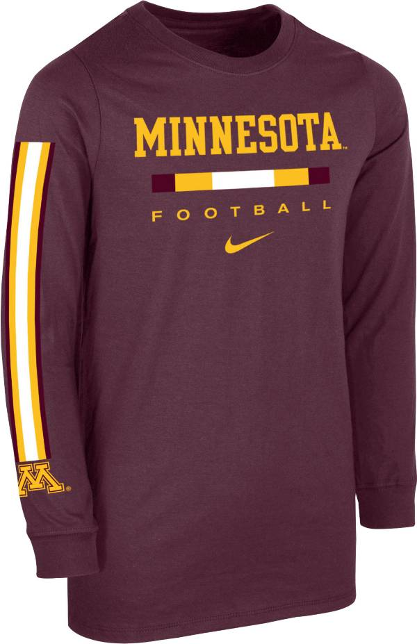 Nike Youth Minnesota Golden Gophers Maroon Core Long Sleeve Cotton Football T-Shirt product image