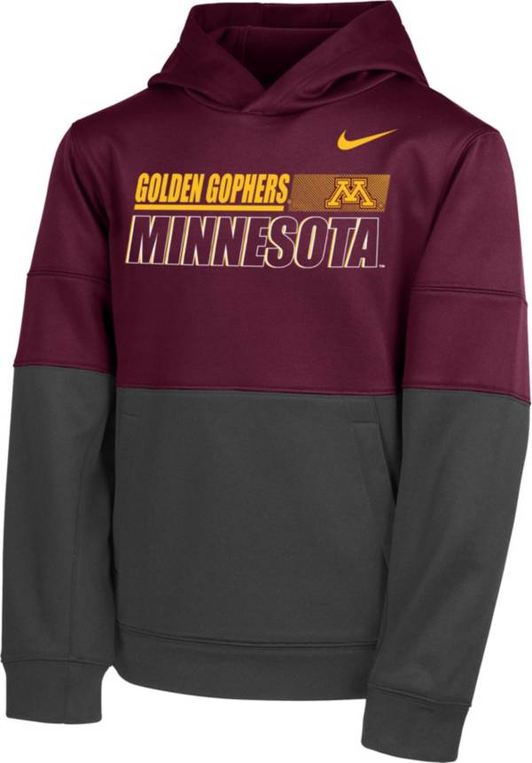 Nike Youth Minnesota Golden Gophers Maroon Therma Color Block Pullover Hoodie product image