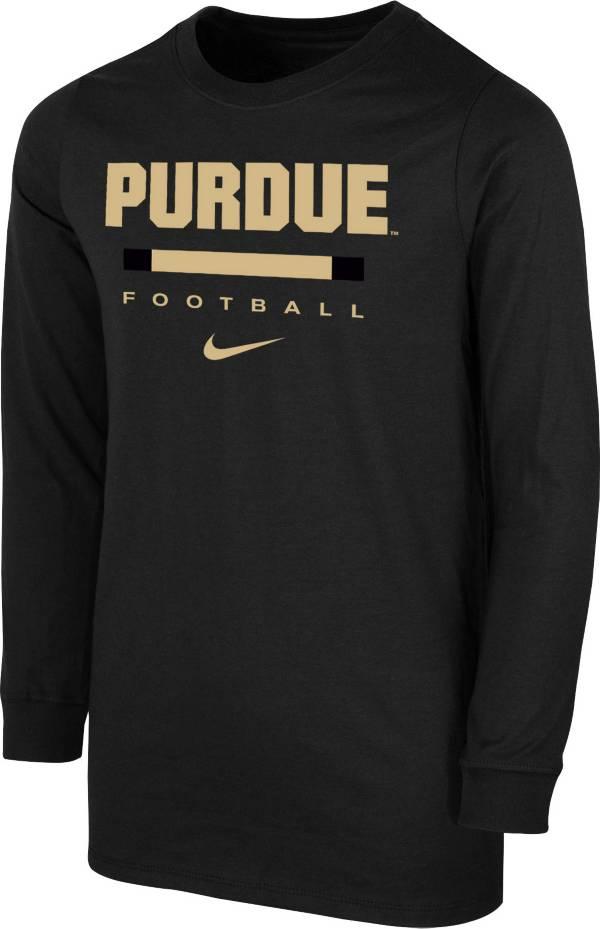 Nike Youth Purdue Boilermakers Dri-FIT Wordmark Long Sleeve Black T-Shirt product image