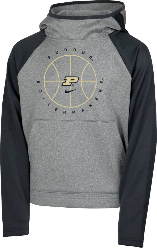 Nike Youth Purdue Boilermakers Grey Spotlight Pullover Basketball Hoodie product image