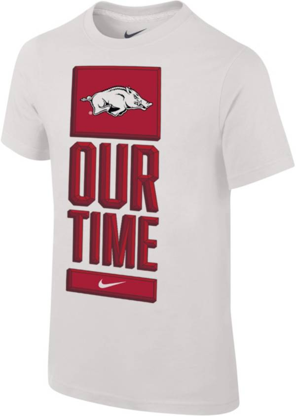 Nike Youth Arkansas Razorbacks 'Our Time' Bench White T-Shirt product image