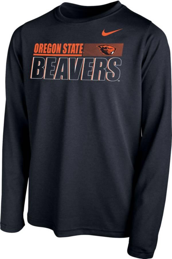 Nike Youth Oregon State Beavers Legend Long Sleeve Performance Black T-Shirt product image