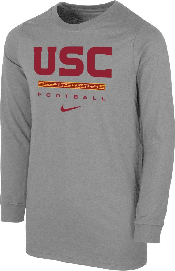 Nike Youth USC Trojans Grey Dri-FIT Wordmark Long Sleeve T-Shirt product image